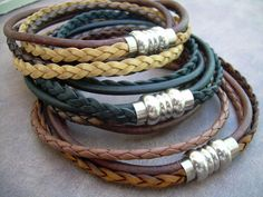 Mens Leather Bracelet, Stainless Steel Magnetic Clasp, Double Wrap Bracelet, Fathers Day Gift, Mens Bracelet, Mens Jewelry on Etsy, $26.99