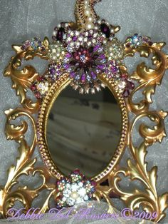 Elegant Victorian  Cornucopia Of Jewels Mirror-purple, lilac, jewels, Jay Strongwater, Vintage, Victorian, mirror,