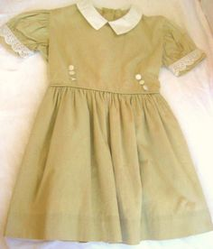 1950's Vintage Child's Dress Wheat and White by  by Barneche, $38.00