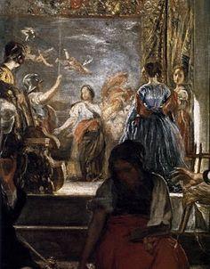 Diego Velázquez, Las Hilanderas ( The Spinners ), oil on canvas, H: 220 cm in) x W: 289 cm in) The Prado, Madrid ( Not. Spanish Painters, Spanish Artists, Baroque, Rococo, Diego Velazquez, Esteban Murillo, 17th Century Art, Chiaroscuro, Old Master