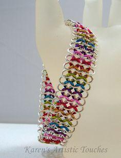 Pulsera plata arco iris brazalete estilo por ArtisticTouches