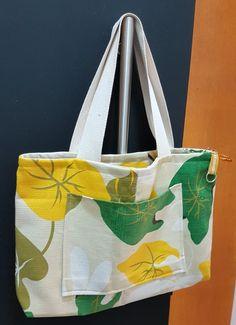 Bolsa tecido linho amarela Bolsa de tecido verão colorido Forrada com bolsos e ziper
