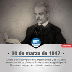 #UnDíaComoHoy muere el ensayista y periodista Pedro Emilio Coll, uno de los grandes creadores literarios de nuestro país.