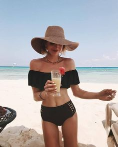 $50 - $150 Off The Shoulder Black Ruffle Detail Bikini Top And High Waisted Cut Out Lace Up Side Braided Detail Bikini Bottoms Matching Two Piece Bikini Swimwear Set Tumblr