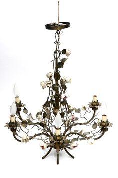 Antique brass chandelier with enamel flowers