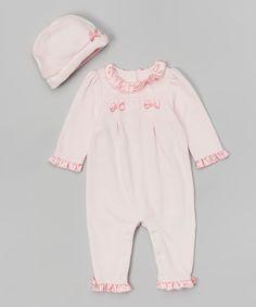 Love this Quiltex Pink Velour Smocked Playsuit & Beanie by Quiltex on #zulily! #zulilyfinds
