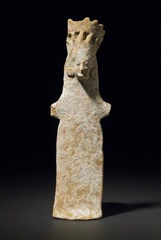 Terracotta figure of a goddess; traces of red and white decoration survive. - Boeotian, 500BC (circa)