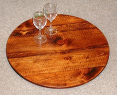 Lazy Susan  24 Wine Barrel Look  Made with by CreativeDesignsDecor