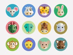 Chinese Zodiac Icons by George Otsubo / Flat icons / Flat animals / Animals design / http://dribbble.com/shots/934121-Chinese-Zodiac-Icons