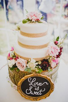Marks Spencer Cake Flowers Hessian Love is Sweet Sign Rustic Dusky Pink Gold Picnic Marquee Wedding http://jonnymp.com/