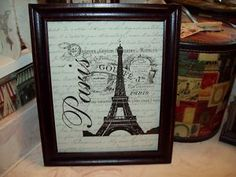 Paris decor Eiffel Tower Gouffe distressed picture frame French