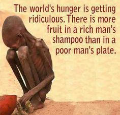 """The world's hunger is getting ridiculous. There is more fruit in a rich man's shampoo than in a poor man's plate."""