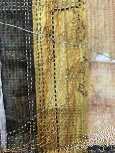 Beautiful stitched detail by Wendy Sargent, Creative Construction Exhibition, NZ National Quilt Symposium 2017 Modern Embroidery, Embroidery Art, Raw Edge Applique, Fabric Journals, Textile Fiber Art, Contemporary Quilts, Japanese Textiles, Tatting Lace, Handmade Books