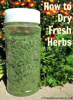 How to dry fresh herbs. Quick tip: grind them with an inexpensive coffee grinder!