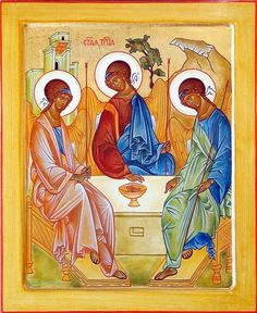 Andrei Rublev was the painter of The Holy Trinity. Jesus in the middle points to the Eucharist and both He and the Holy Spirit on the right look to the Father on the left. The Eucharist is the center of the life of the Trinity. Trinidad, Andrei Rublev, Liturgical Seasons, Moment Of Silence, Biblical Art, Byzantine Icons, Eucharist, Piece Of Music, Saints
