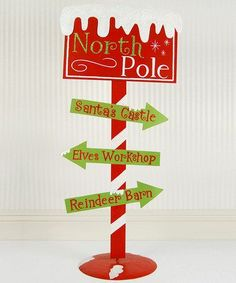 Add a seasonal touch to décor with this charming North Pole sign. It's a perfect accent to the front yard, providing a lovely burst of color and instant holiday cheer. Office Christmas, Christmas Wood, Christmas Signs, Outdoor Christmas, Christmas Photos, All Things Christmas, Winter Christmas, Christmas Holidays, Christmas Ideas