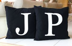 Monogram Pillow Cover 16 x 16 Initial Cushion by MoniKdesigns, $38.00