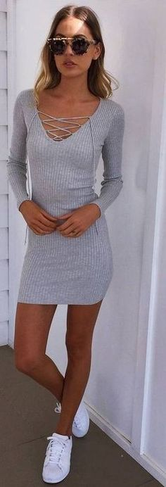 #prefall #muraboutique #outfitideas | Grey Lace Up Knit Dress