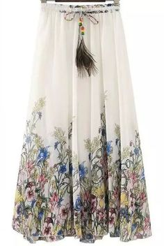 Drawstring Florals Pleated White Skirt 13.33  Perfect Summer time skirt I cannot wait for mine to arrive!!!