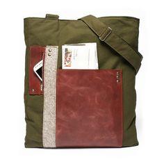 Men leather canvas satchel leather canvas by BrandiaManufacture, $95.00