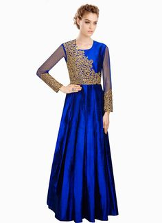 Blue Silk Floor Length Anarkali