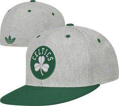 Boston Celtics Grey adidas Originals Basic Logo Flat Brim Flex Hat