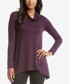Karen Kane Handkerchief-Hem Sweater - Purple XS