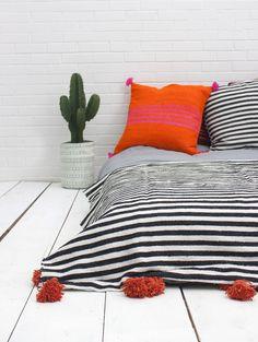 Stripe Pom Pom Blanket, Orange #category:blankets #colour:orange #group:blankets