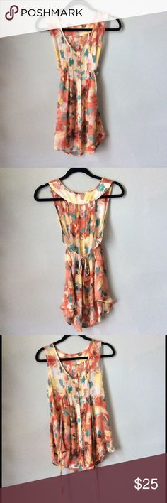 American Rag floral sheer tunic In very good condition. Very cute! Perfect with leggings! Size Medium American Rag Tops Tunics