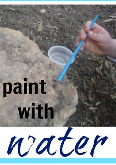 Paint with water: SO simple but so much fun. .. still one of my kids' all-time fave outside activities.  This fun outdoor activity will keep the kids busy for some great summer fun! #teachmama #painting #outdooractivity #kidsactivity #kidfun #outdoor #kidspainting #water #outdoorfun