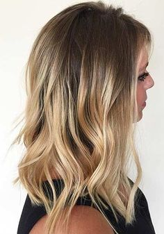 Golden Blonde Balayage Lob