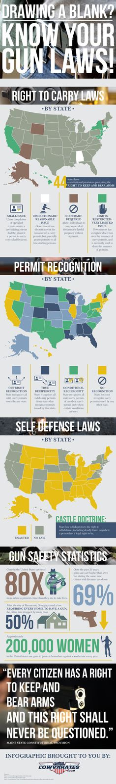 If you own, or carry a gun regularly, it's important that you know your gun laws and your rights. 44 states have constitutional provision protecting the right to keep and bear arm. However many state laws are different by state and you also need to consider federal gun laws as well. This infographic by LowVARates.com reviews those laws. Concealed Carry, Hunting, Guns, Map, Fun Facts, Carry On, Weapons Guns, Wtf Fun Facts, Weapons