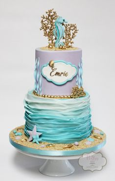 Seahorse themed cake in shades of soft lavender and teal with fondant ruffles. Little Mermaid Cakes, Mermaid Birthday Cakes, Little Mermaid Birthday, Pretty Cakes, Cute Cakes, Beautiful Cakes, Ocean Cakes, Beach Cakes, Seahorse Cake