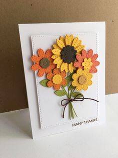 Another card made with the My Favorite Things Stitched Flower dies...this time a Fall bouquet...     I used  a variety of the stitched fl...