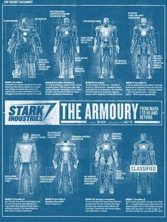 "004 Blueprint - Iron Man Armor Mark I II III IV V VI VII poster 24""x32"" Poster"