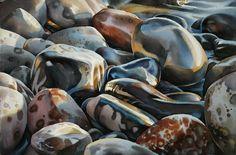 Wet rocks (watercolour by David McEown)