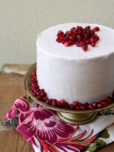 lemon cake with pomegranate seeds