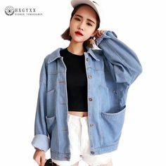 d3cfea025b7 2017 Women Basic Denim Jacket Light Blue loose Casual Women Big Pocket Jeans  Coat All-