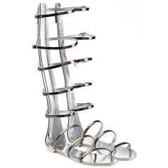 Giuseppe Zanotti Metallic Leather Gladiator Sandals ($905) ❤ liked on Polyvore featuring shoes, sandals, flats, grey, strap sandals, gray flats, metallic gladiator sandals, leather flats and silver metallic sandals