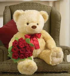 Big Bear & Dozen Red Roses Delivery At Maya Flowers, India Teddy Bear Images, Big Teddy Bear, Teddy Bear Pictures, Big Bear, Giant Teddy, Tatty Teddy, Stuffed Animals, Photo Ours, Bear Wallpaper