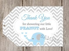 Elephant Grey Chevron Baby Shower Favor Tags by PartyPopInvites