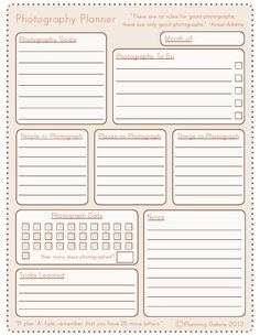 a free photography planner printable from planning galore!