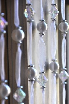 Love these hanging crystals and beads on an elegant ribbon. Super great for winter wonderland