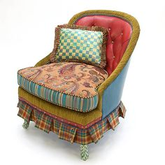 LOVE mixed fabrics for re-upholstered chairs