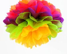 Tropical Delight set of 4 tissue paper pom poms // by PomJoyFun, $18.00