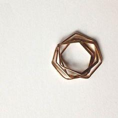Bague nid d'hexagone.  En or.  Anneau de puzzle par elainebjewelry, $45.00