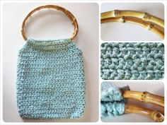 """* CROCHET BAG *  Width: 25 cm – 9"""" ¾ Heigth (with handles): 43 cm – 17""""  Raw silk crochet aquamarine bag, handmade from vintage pattern With real bamboo handles! 25 € plus p&p"""