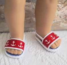 American Girl Doll Clothes Sandals Shoes Nautical Anchor Style With Red White and Blue Accents