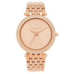 Michael Kors Darci Watch ($250) ❤ liked on Polyvore featuring jewelry, watches, rose gold, snap jewelry, slim watches, michael kors jewelry, michael kors and bezel jewelry