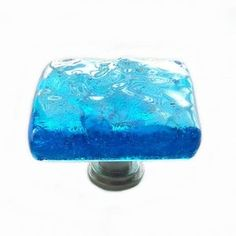 Custom Screw Placement p11751 Glass Drawer Pull or Cabinet Handle in Light Aqua Art Glass